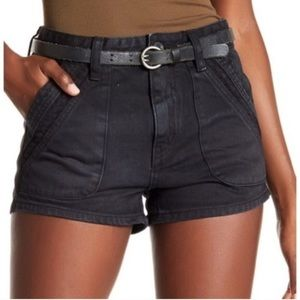 Free People High Rise Sweet Surrender Black Shorts